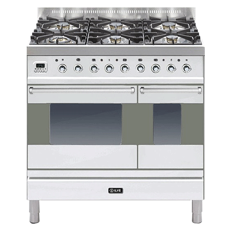 ILVE PD906MP, 90cm Twin Dual Fuel Range Cooker with 6 Gas Burner Hob (Choose from a variety of colours)