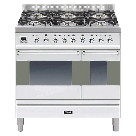 ILVE PD90FMP, 90cm Twin Dual Fuel Range Cooker with 4 Gas Burners with Fry Top (Choose from a variety of colours)