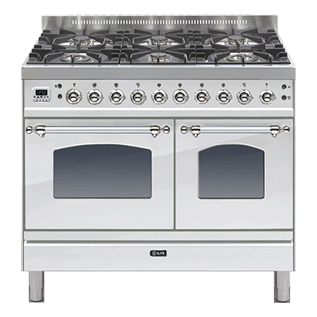 ILVE PDN100IE3, 100cm Twin Dual Fuel Range Cooker 4 Burner & 2 Zone induction Hob (Choose from a variety of colours)
