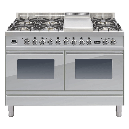 ILVE PDW120FE3, 120cm 60/60 Twin Dual Fuel Range Cooker with 6 Gas Burners with Fry Top (Choose from a variety of colours)