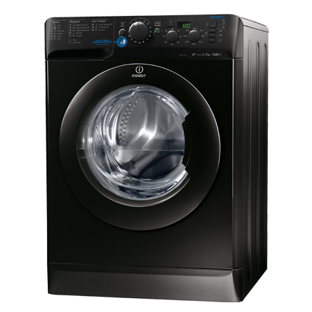 Indesit XWD71452K, Freestanding 7kg 1400rpm Washing Machine, A++ Energy Rating, Black
