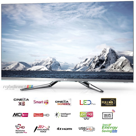 LG 42LM860V, 42 LED Cinema 3D Smart TV with 7x Pairs of Glasses, Cinema Screen Design, Freeview HD, Built-In WiFi & MCI 800
