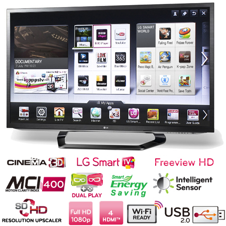 LG 47LM620T, 47 LED Cinema 3D Smart TV with 4x Pairs of Glasses, Freeview HD, 4x HDMI & 3x USB Connections