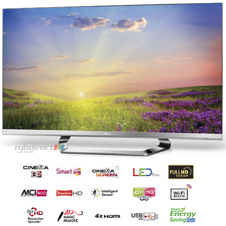 LG 55LM670T, 55 LED Cinema 3D Smart TV with 5x Pairs of Glasses, Cinema Screen Design, Freeview HD, Built-In WiFi & MCI 400