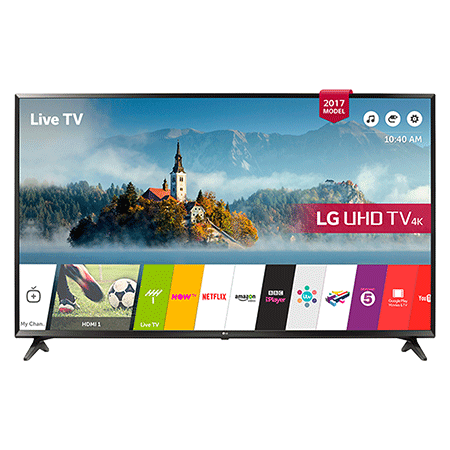 LG 60UJ630V, 60 inch Smart Ultra HD 4K LED TV with webOS 3.5, Freeview HD and Freesat HD & Built-In Wi-Fi