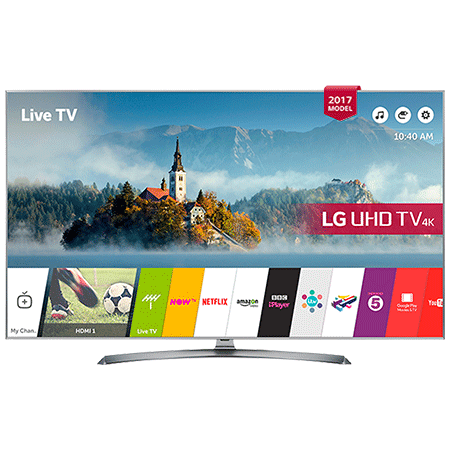LG 60UJ750V, 60 inch Smart Ultra HD 4K LED TV with webOS 3.5, Freeview HD and Freesat HD & Built-In Wi-Fi