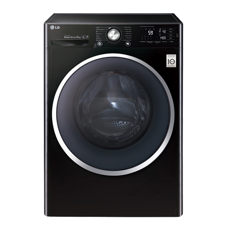 LG F14U2TCN8, 8kg Direct Drive Washing Machine 1400rpm Spin Speed & A+++ Energy Rating in Black.