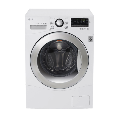 LG FH4A8TDN2, Freestanding 8KG 6 Motion DD Smart Washing Machine With Stylish Chrome Door - A+++ Energy Rating - White