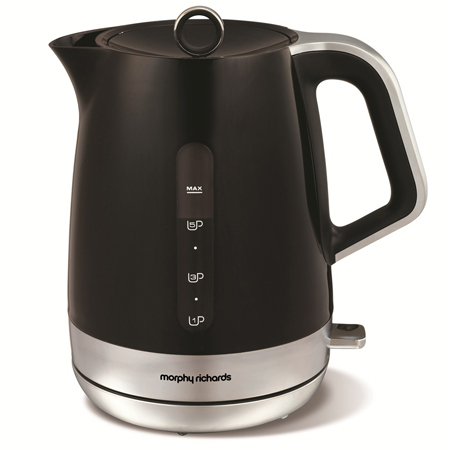 Morphy Richards 101404-Kettle, Kettle in Black and Chrome with a closed lid