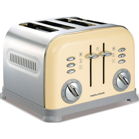 Morphy Richards 44038-Toaster, Accents Translucent 4 Slice Toaster Cream