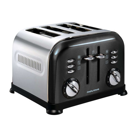 Morphy Richards 44733-Toaster, Accents Translucent 4 Slice Toaster Black
