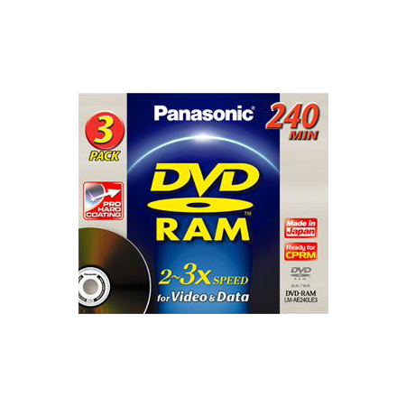 Panasonic LMAD240LE3, 12cm DVD-RAM Disc, 9.4GB, 240 Mins, Removable cartridge, 3 Pack