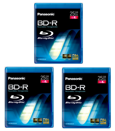 Panasonic LMBRU25LAE3, 3 Pack 25GB 4x Speed Write Once Blu-Ray Discs