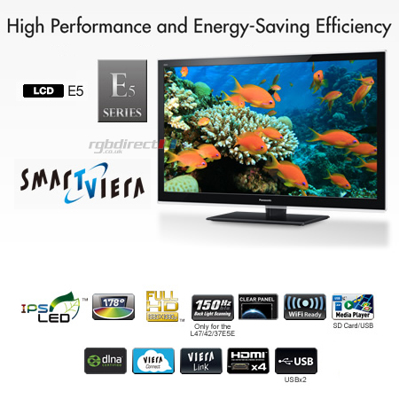 Panasonic TXL42E5B, 42 Smart Viera Full HD 1080p DLNA & WiFi Ready LED LCD TV.