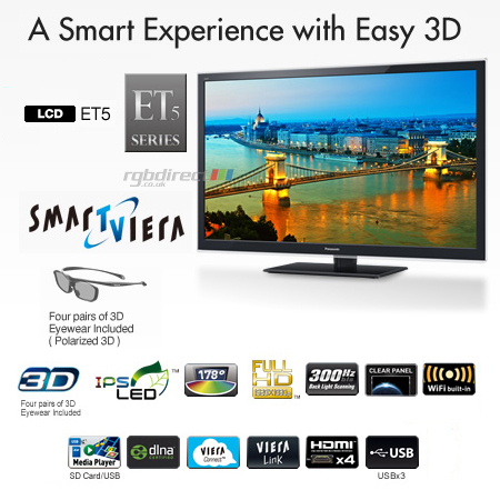 Panasonic TXL55ET5B, 55 Smart Viera Full HD 1080p DLNA & Built-In WiFi 3D LED LCD TV.