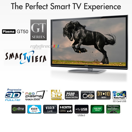 Panasonic TXP42GT50B, 42 Smart Viera Full HD 1080p DLNA & Built-In WiFi 3D Plasma TV