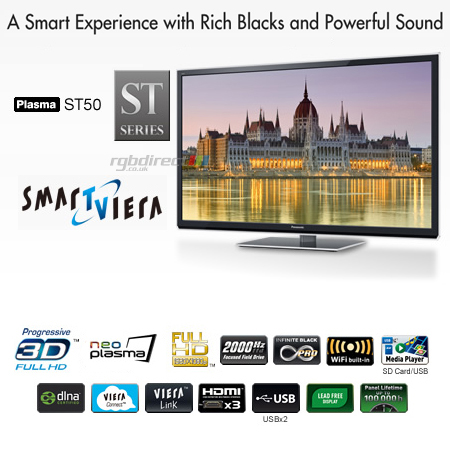Panasonic TXP42ST50B, 42 inch Smart Viera Full HD 1080p DLNA & Built-In WiFi 3D Plasma TV