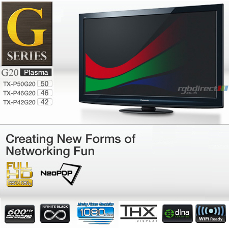 Panasonic TXP46G20B, 46 inch G20 Series NeoPDP Full HD 1080p Viera Plasma TV with Built-In FreeSat