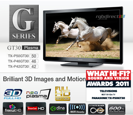 Panasonic TXP50GT30B, 50 Full HD 1080p DLNA & WiFi Ready 3D Plasma TV with Freeview HD, Freesat HD & USB HDD Recording
