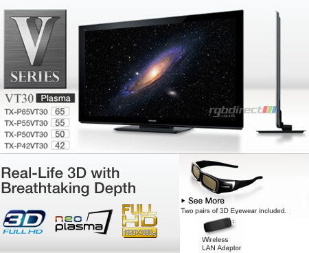 Panasonic TXP50VT30B, 50 Full HD 1080p DLNA & WiFi Ready 3D Plasma TV with Freeview HD, Freesat HD & USB HDD Recording