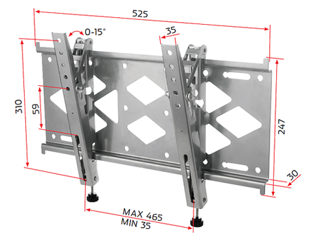 RD OFTB1, Universal Fixed Wall Mount with Tilt for Medium Flat Screens 24 inch to 32 inch