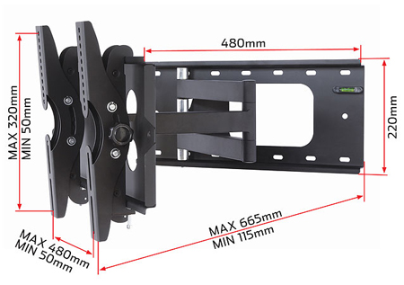 RD OLSA3, Universal Swing Arm Bracket for Medium Flat Screens 24 inch to 32 inch