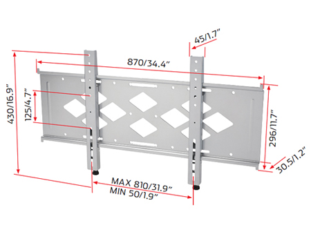 RD OPB1, Universal Fixed Wall Mount for Large Flat Screens 37 inch to 60 inch
