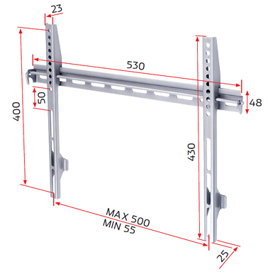 RD OSB1, Universal Fixed Wall Mount for Medium Flat Screens 24 inch to 32 inch