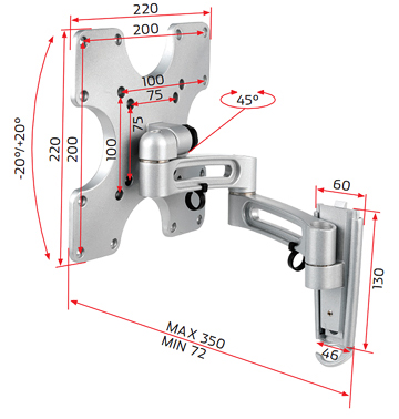 RD OVSA200, Universal Swing Arm Bracket for Medium Flat Screens 24 inch to 32 inch