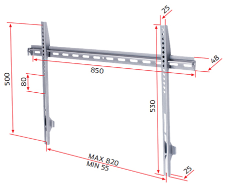 RGB L Bracket, Flat VESA/Non VESA Wall Mount for Screens 37 to 55