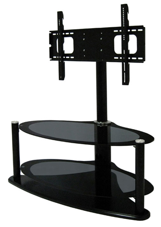 RGB ZIN421459HYB, Universal Hybrid Oval Bolt-On Glass TV Stand for Screens upto 42