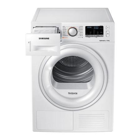 SAMSUNG DV90M50001W, 9kg Heat pump tumble dryer, white colour, with A++ Energy Rating, LED Display, Interior Drum Light, Smart Check System.Ex-Display Model