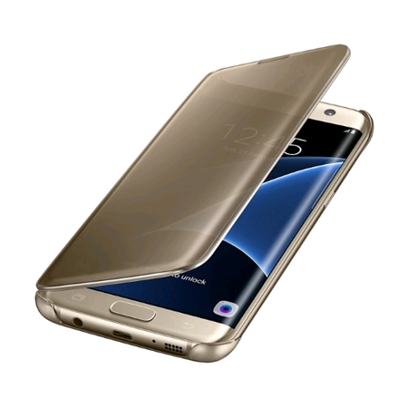 SAMSUNG EFZG935CFEGWW, Samsung Clear View Cover for Galaxy S7 edge (Gold) Smart Phone Cover