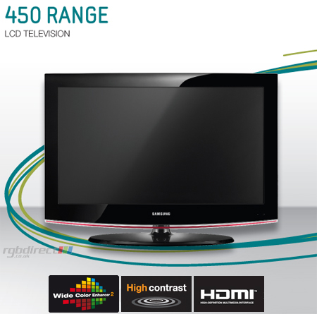 SAMSUNG LE19B450C4WXXU, 19 inch Series 4 HD Ready LCD TV with Integrated Digital Tuner