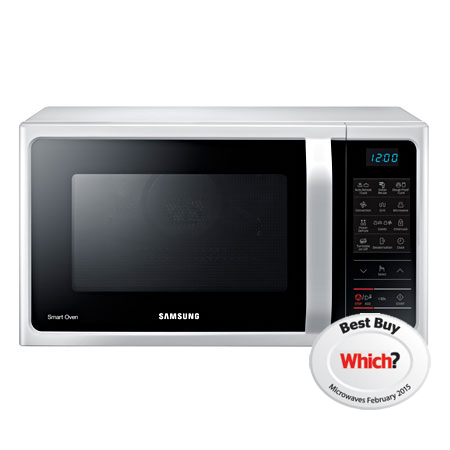 SAMSUNG MC28H5013AW, 28L Freestanding 5013W Microwave Combi with Touch Controls in White with Black Facia