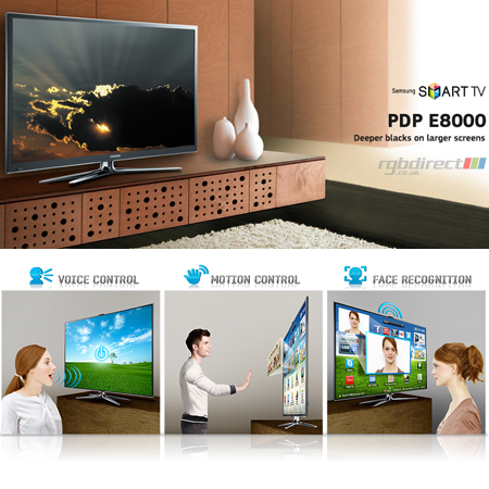 SAMSUNG PS64E8000, 64 Series 8 Full HD 1080p Smart 3D Plasma TV with Voice & Motion Control System & Freeview HD