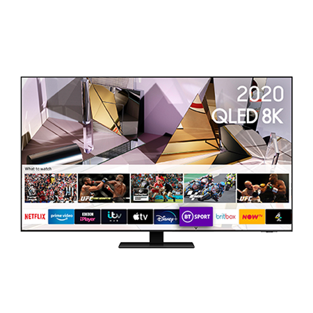 SAMSUNG QE55Q700T, 55 inch 8K QLED Smart TV Titan Black finish with Bluetooth and WiFi enabled.