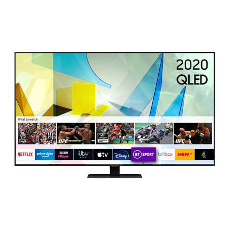 SAMSUNG QE65Q80T, 65 inch Smart Ultra HD 4K QLED TV Carbon SIlver FInish with Freeview