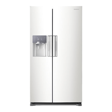 SAMSUNG RS52N3313WW, Side by Side Fridge Freezer White in white with A+ Energy Rating.