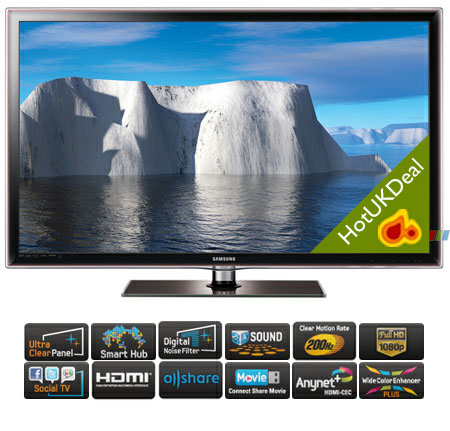 SAMSUNG UE46D6100SKXXU, 46 Series 6 Full HD 1080p Smart 3D LED TV with 200Hz Clear Motion Rate & Freeview HD.Ex-Display Model