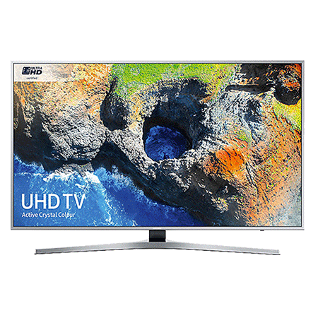 SAMSUNG UE49MU6400, 49 Smart Certified Ultra HD 4K LED TV with TVPlus tuner & Built-in Wi-Fi in silver.