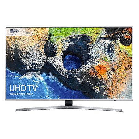SAMSUNG UE49MU6400, 49 inch Smart Certified Ultra HD 4K LED TV with TVPlus tuner & Built-in Wi-Fi in silver.