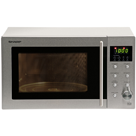 SHARP R28STM, Freestanding Compact 800W Microwave Oven with Touch Controls in Stainless Steel