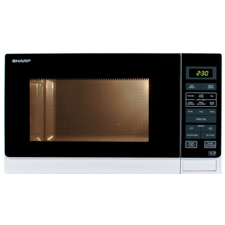 SHARP R372WM, Freestanding 900W Microwave Oven in White