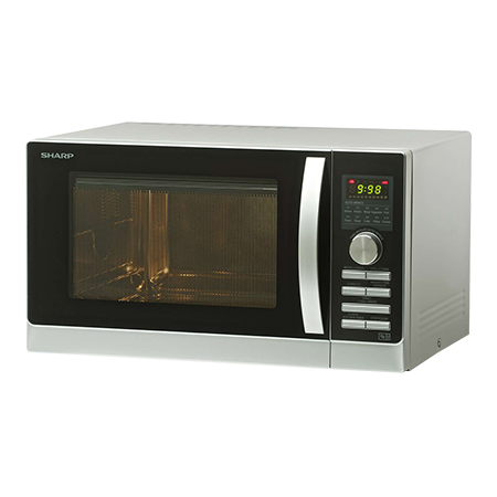 SHARP R843SLM, 2300W Microwave Oven Silver with Dial Controls