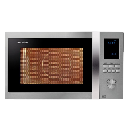 SHARP R922STM, Freestanding 1000W Microwave Combi Stainless SteelBlue with Dial Controls