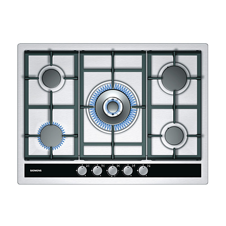 SIEMENS EC745RC90E, iQ500 70 cm 5 high powered gas burners include a stylish modern wok burner gas hob