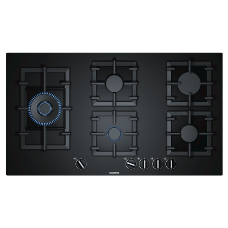 SIEMENS EP9A6SB90, 90cm 5 BurnerWok Gas Hob with Cast Iron Pan Supports