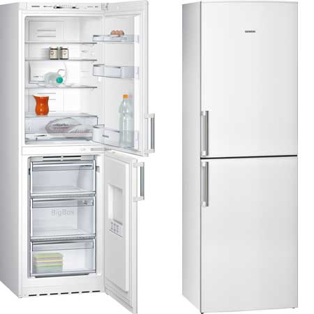 SIEMENS KG34NVW24GB, ExtraKlasse Frost Free Fridge Freezer 60cm wide in White with A+ Energy rating. Fridge 186L, Freezer 94L capacity.