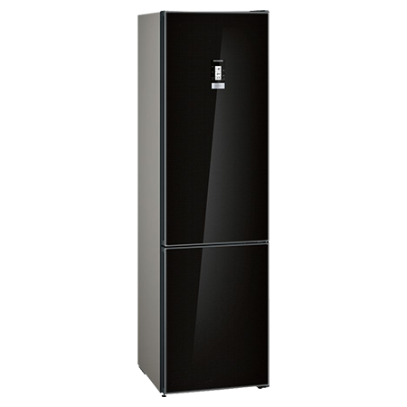 SIEMENS KG39NLB35, Freestanding 60cm Fridge Freezer with Home Connect, A++ Energy Rating, 60cm in Black Glass